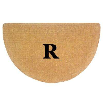 No Border 22 in. x 36 in. Heavy Duty Coir Monogrammed R Half Round Door Mat