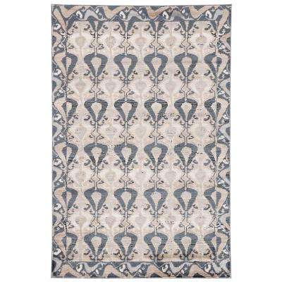 Venice Blue 2 ft. x 3 ft. Ikat Rectangle Area Rug