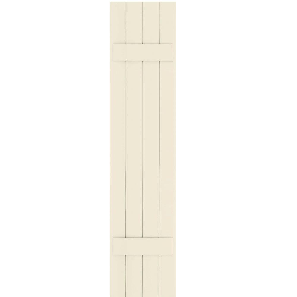 Winworks Wood Composite 15 in. x 70 in. Board and Batten Shutters Pair #651 Primed/Paintable