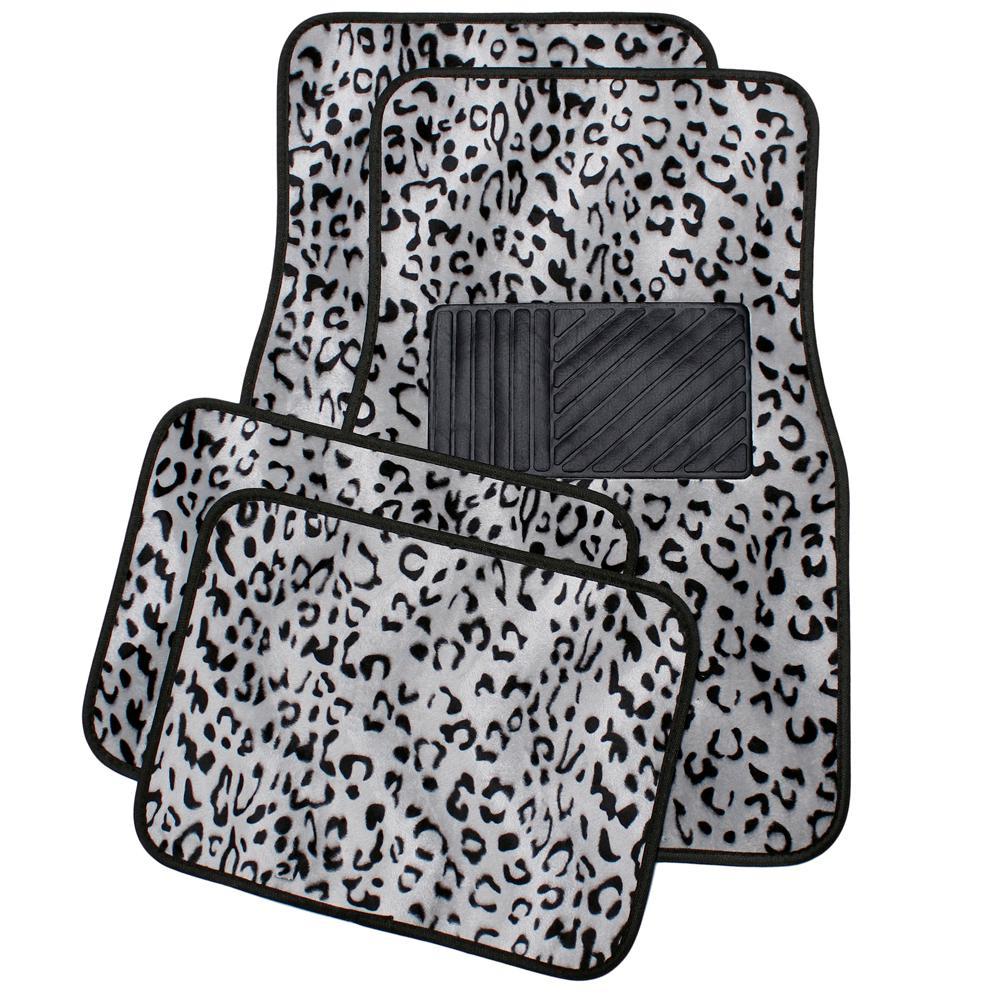 Leopard Gray 4-Piece Heavy-Duty 26.5 in. x 17.25 in. Rubber Floor Mats