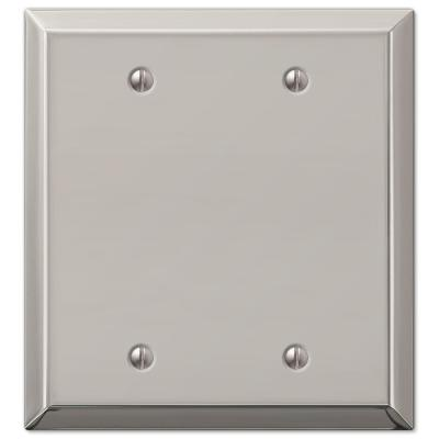 Metallic 2 Gang Blank Steel Wall Plate - Polished Nickel