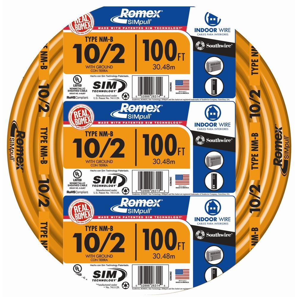 Southwire 100 ft. 10/2 Solid Romex SIMpull CU NM-B W/G Wire