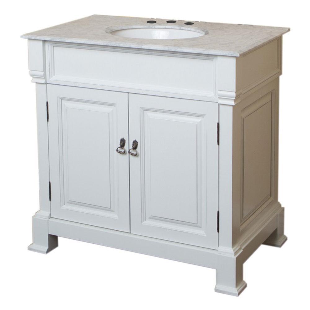 Benicia 36 in. W x 22.5 in. D Single Vanity in White with Marble Vanity Top in White with White Basin