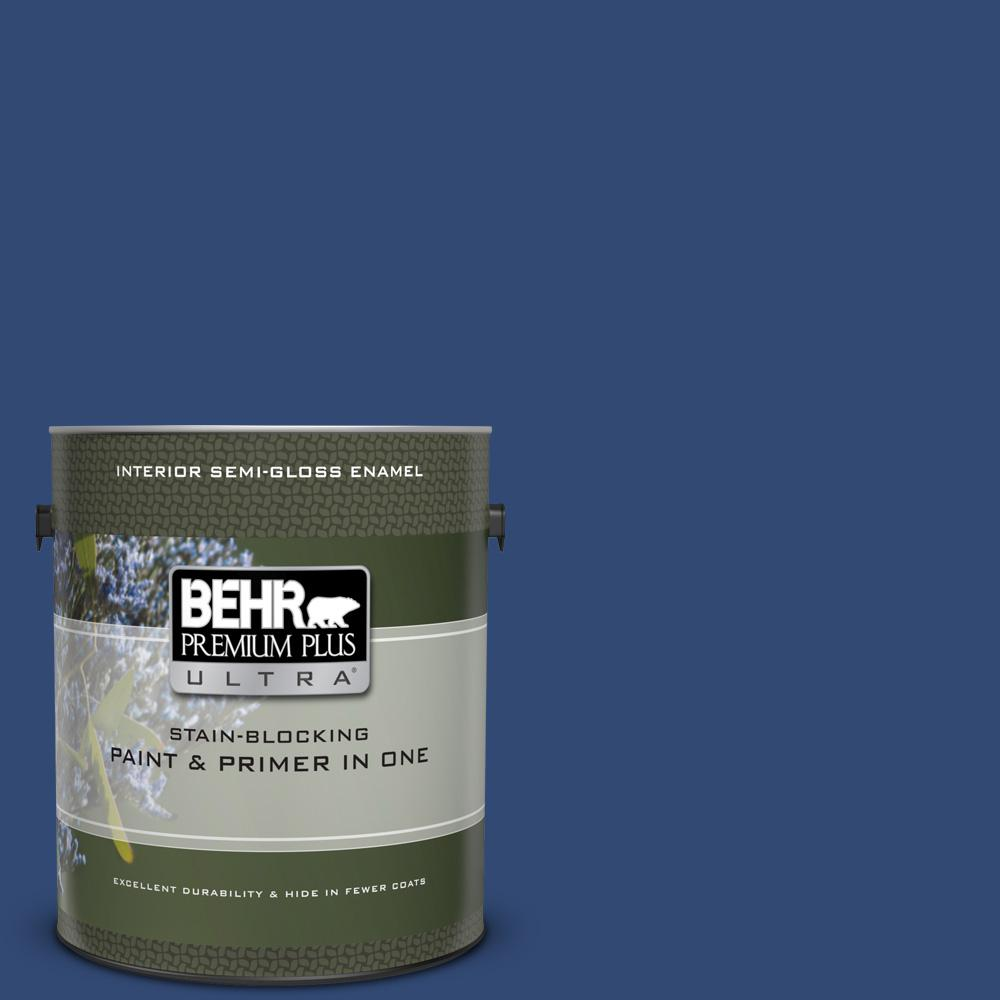 S H 580 Navy Blue Semi Gloss Enamel Interior Paint And Primer In One