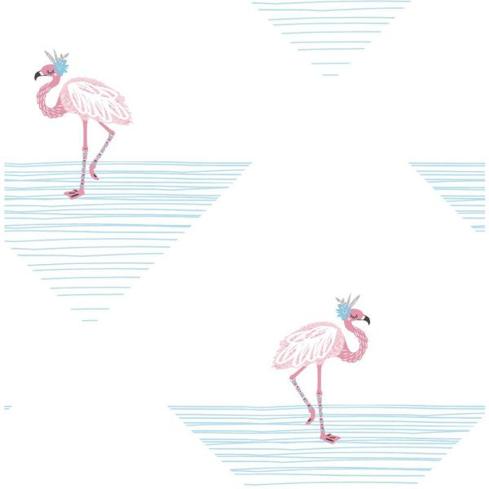Seabrook Designs Kids Fuchsia And Sky Blue Dancing Flamingos Wallpaper