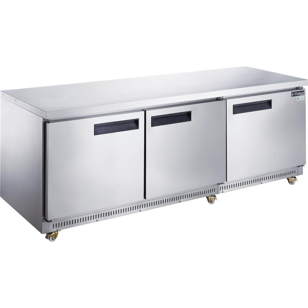 72 in. W 18.9 cu. ft. 3-Door Undercounter Commercial Refrigerator in Stainless Steel