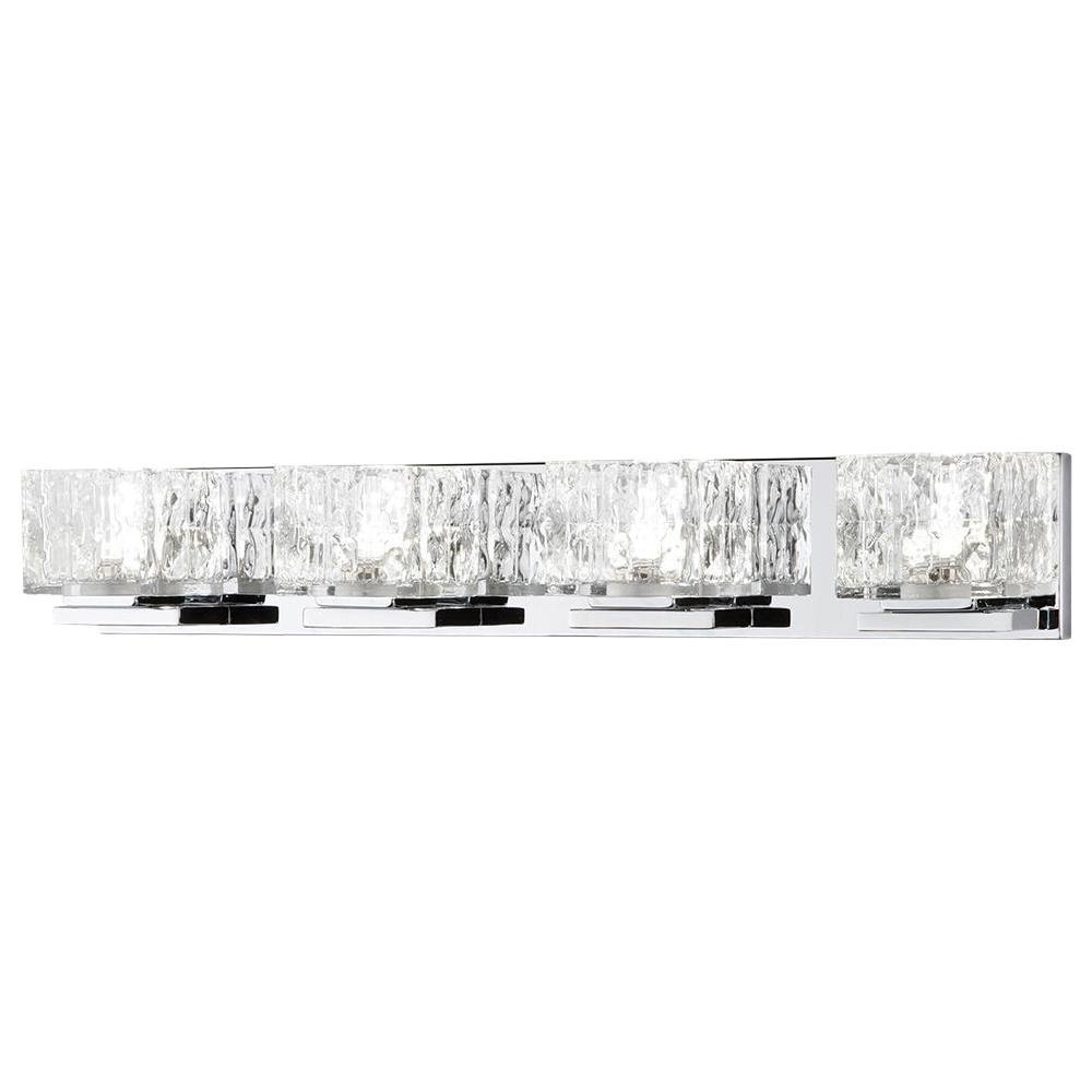 Tulianne 75-Watt Equivalent 4-Light Chrome LED Vanity Light with Clear Cube Glass