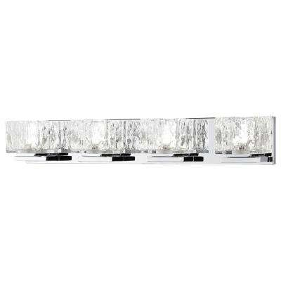 75-Watt Equivalent 4-Light Chrome Integrated LED Vanity Light with Clear Cube Glass