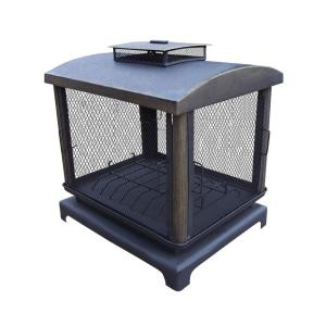 37 inch Outdoor Fire Place Pit with 360° View and Full Sides Spark Guard...