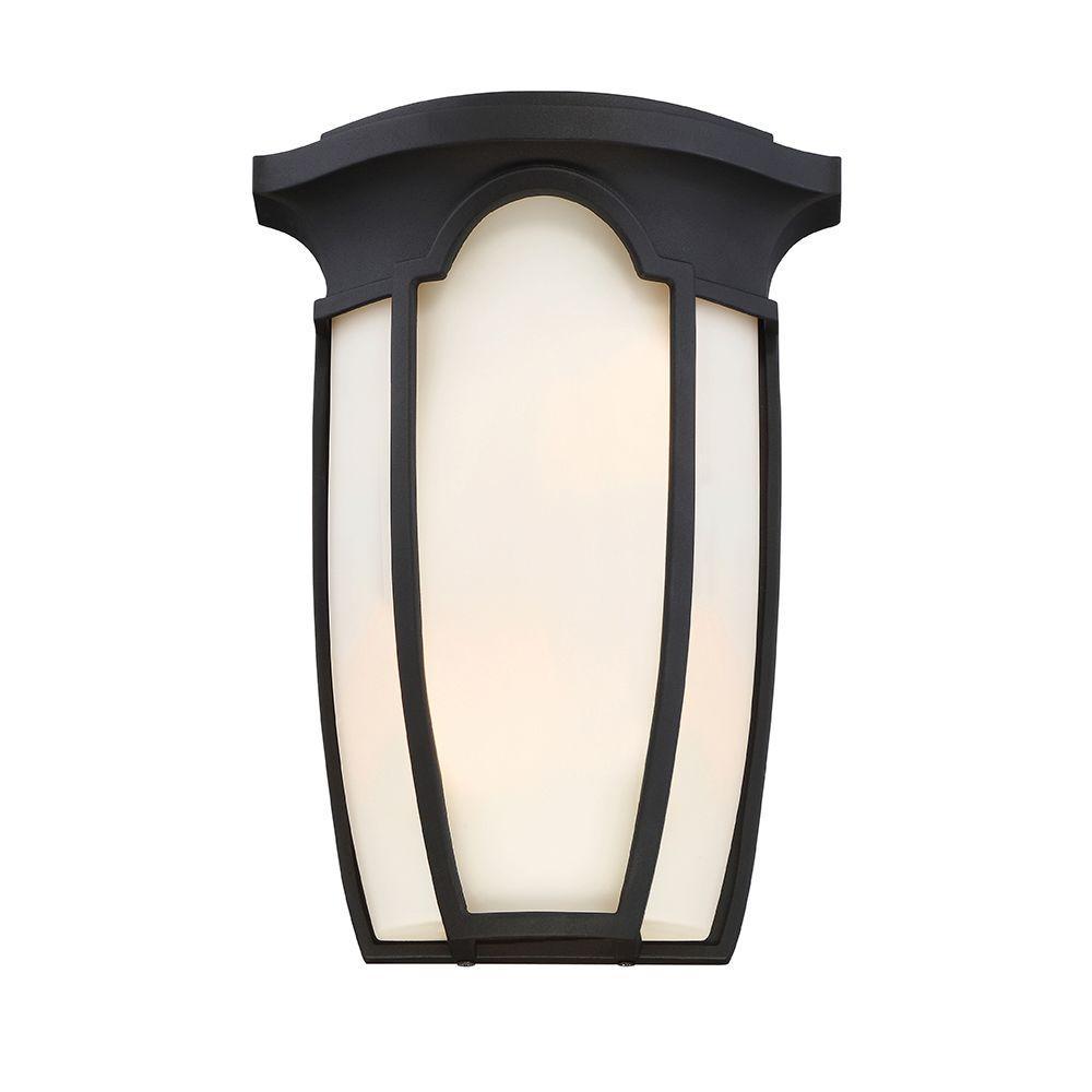 Tudor Row 2-Light Black Interior/Outdoor Incandescent Bath Vanity Light