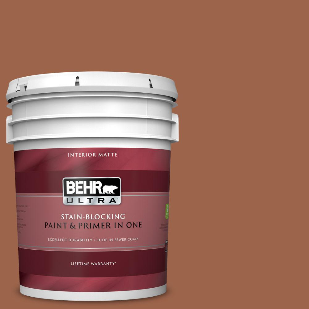 Behr Ultra 5 Gal Ul120 4 Antique Copper Matte Interior Paint And Primer In One 175305 The Home Depot