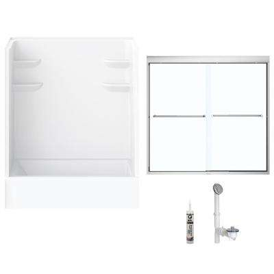 60 in. x 30 in. x 76 in. Bath and Shower Kit with Right-Hand Drain and Door in White and Chrome Hardware