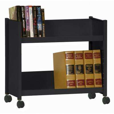 2-Sloped Shelf Welded Booktruck in Black