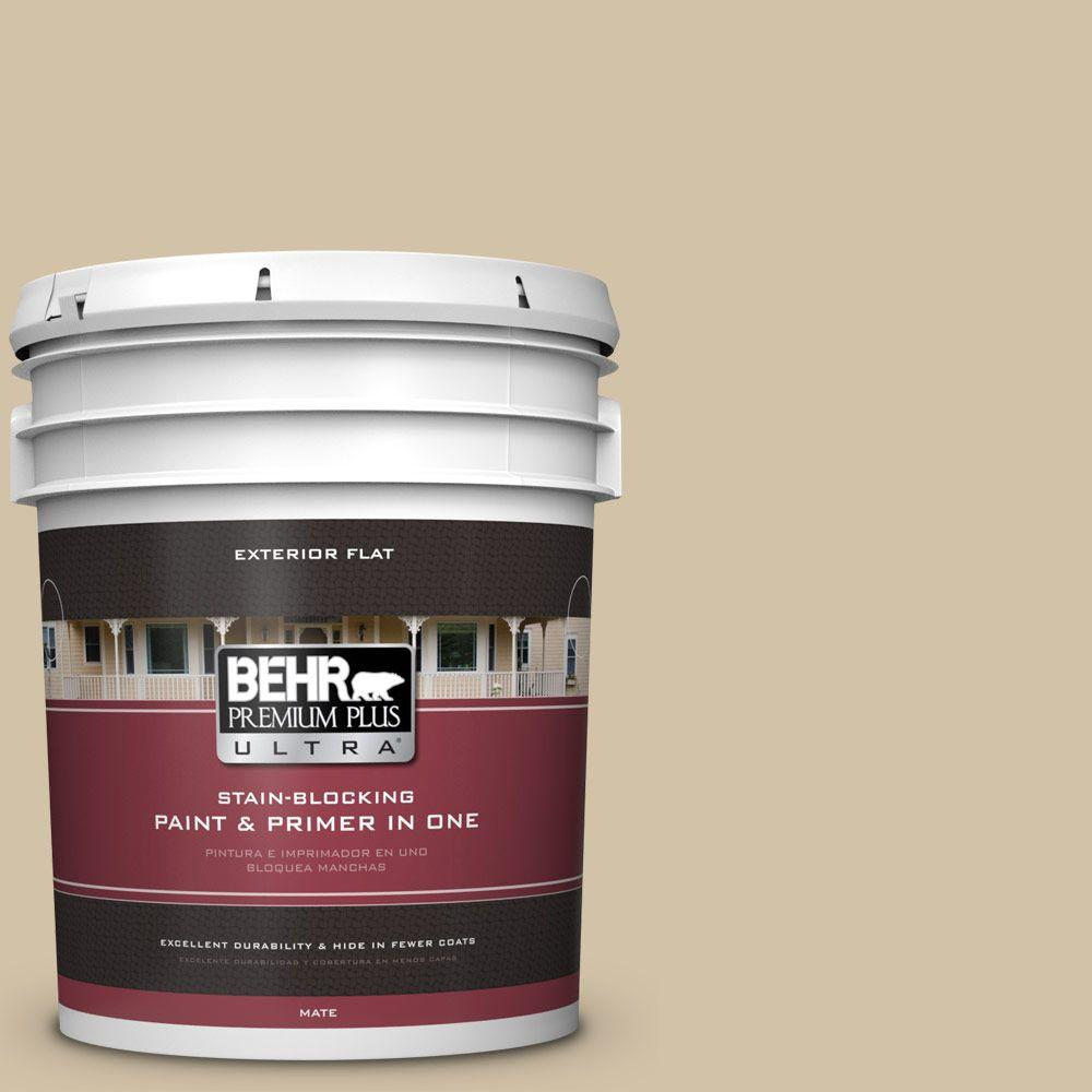 BEHR Premium Plus Ultra 5-gal. #740C-3 Oat Straw Flat Exterior Paint