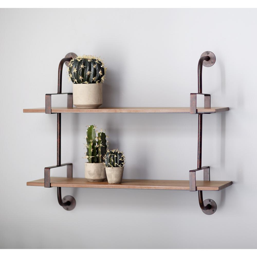 industrial pipe wall shelf 66433 the home depot. Black Bedroom Furniture Sets. Home Design Ideas