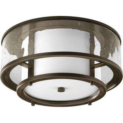 Bay Court Collection 2-Light Antique Bronze Outdoor Flushmount