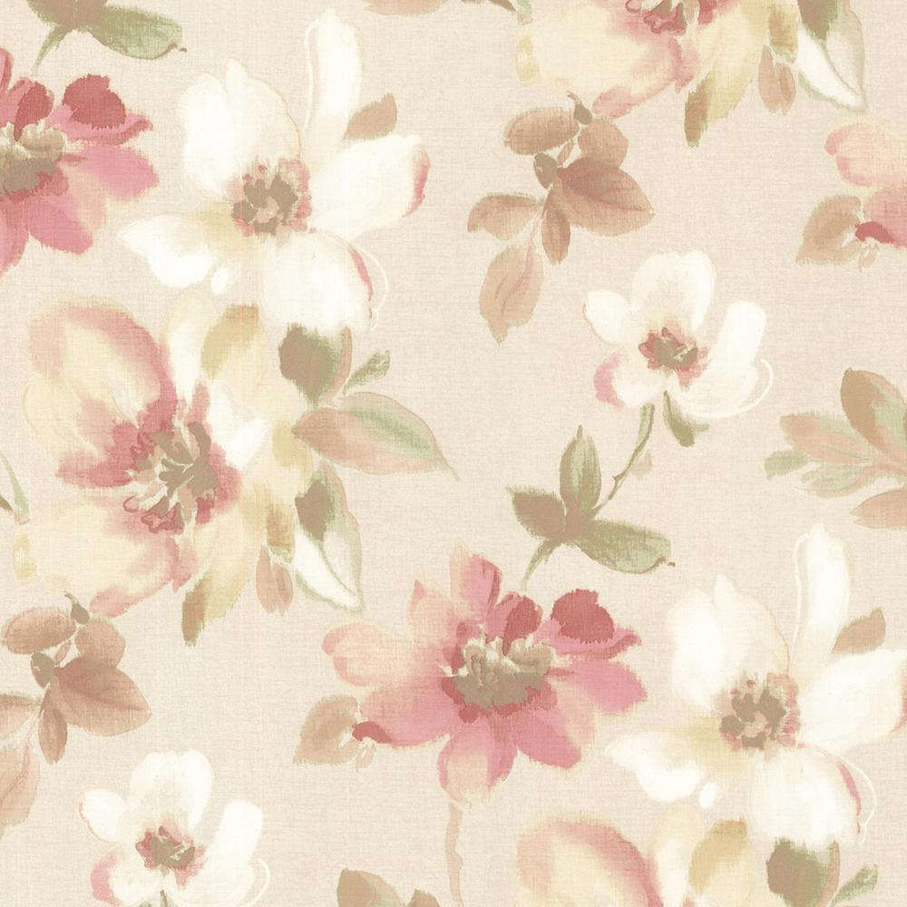 Brewster 56 4 Sq Ft Lynette Peach Watercolour Floral Wallpaper