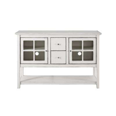 52 in. Antique White Wood Console Table Buffet TV Stand