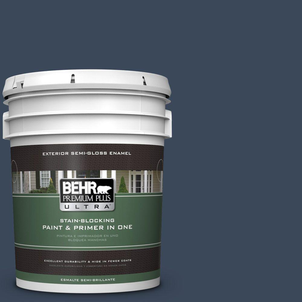 BEHR Premium Plus Ultra 5-gal. #M500-7 Very Navy Semi-Gloss Enamel Exterior Paint