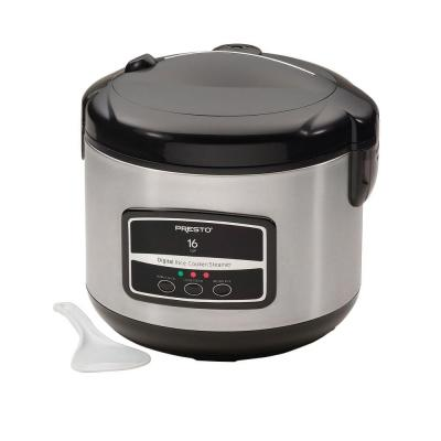 16-Cup Stainless Steel Rice Cooker with Non-Stick Cooking Pot