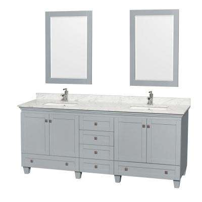 Acclaim 80 in. W x 22 in. D Vanity in Oyster Gray with Marble Vanity Top in Carrera White with White Basins and Mirrors