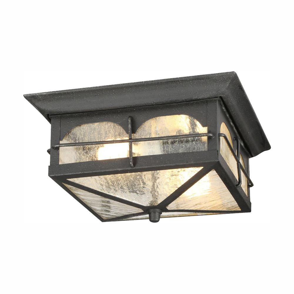 Brimfield 2-Light Aged Iron Outdoor Flushmount Light