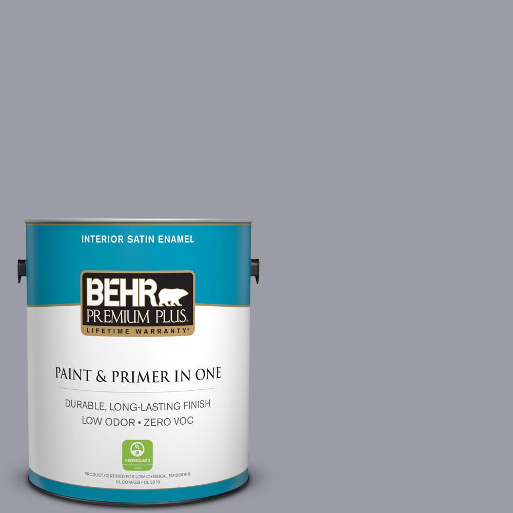 1 gal. #BNC-09 Heather Gray Satin Enamel Zero VOC Interior Paint