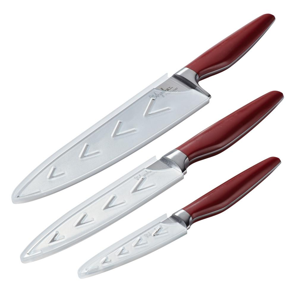 Home Collection 3 Piece Sienna Red Japanese Steel Cooking Knife Set