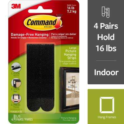 Command 4 lbs. Large Black Plastic Picture Hanging Strips (4-Strips)
