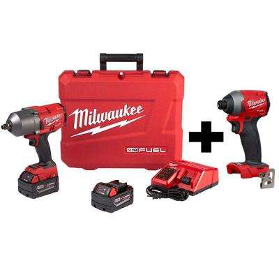 M18 FUEL 18-Volt Lithium-Ion Brushless Cordless 1/2 in. Impact Wrench with Friction Ring Kit W/ Free FUEL Impact Driver
