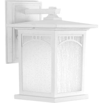 Residence Collection 1-Light Outdoor 6 Inch Textured White LED Wall Lantern