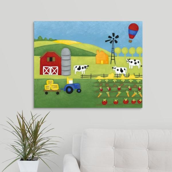Pickup Truck and Barn 30 X 20 LED Lighted Canvas Wall Print