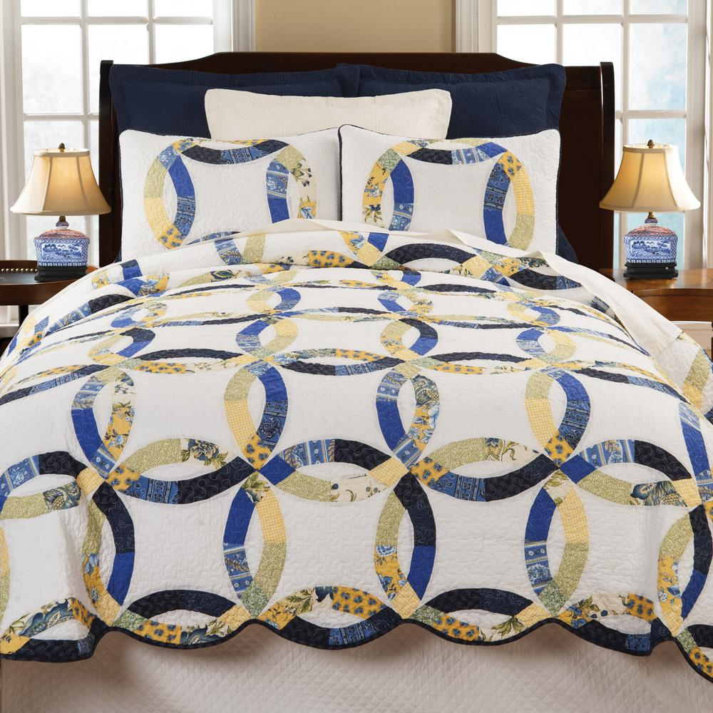 White Provence Wedding Ring King Quilt St