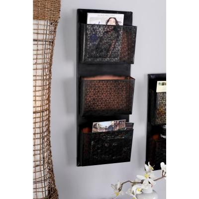 LITTON LANE Black Iron 3-Pocket Letter Holder