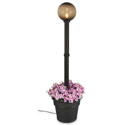 Milano 82 in. Single Bronze Outdoor Globe Plug-in Black Lantern with Planter