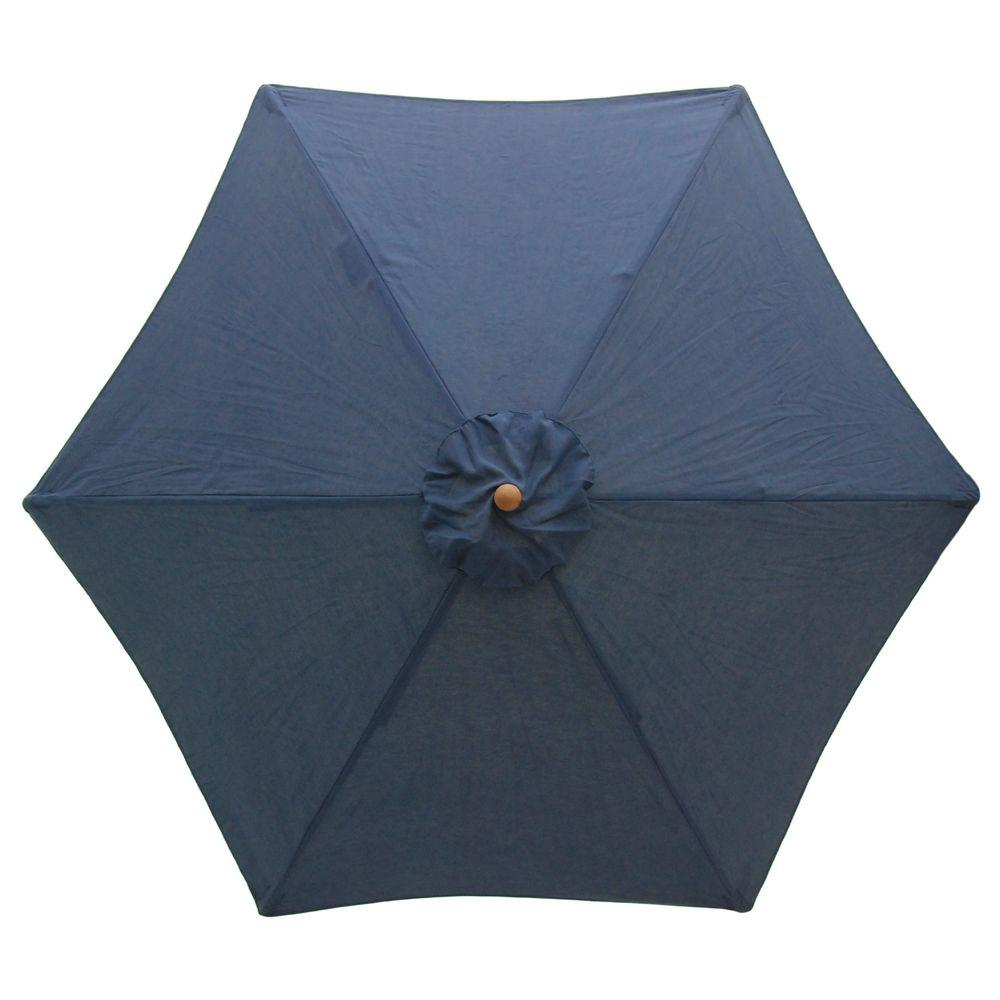 Plantation Patterns 9 ft. Wood Patio Umbrella in Blue-DISCONTINUED