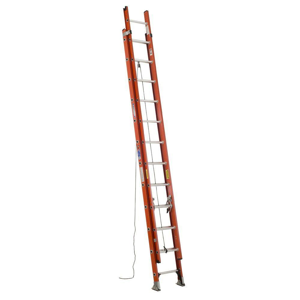 Werner 24 ft. Fiberglass Extension Ladder with 300 lb. Lo...