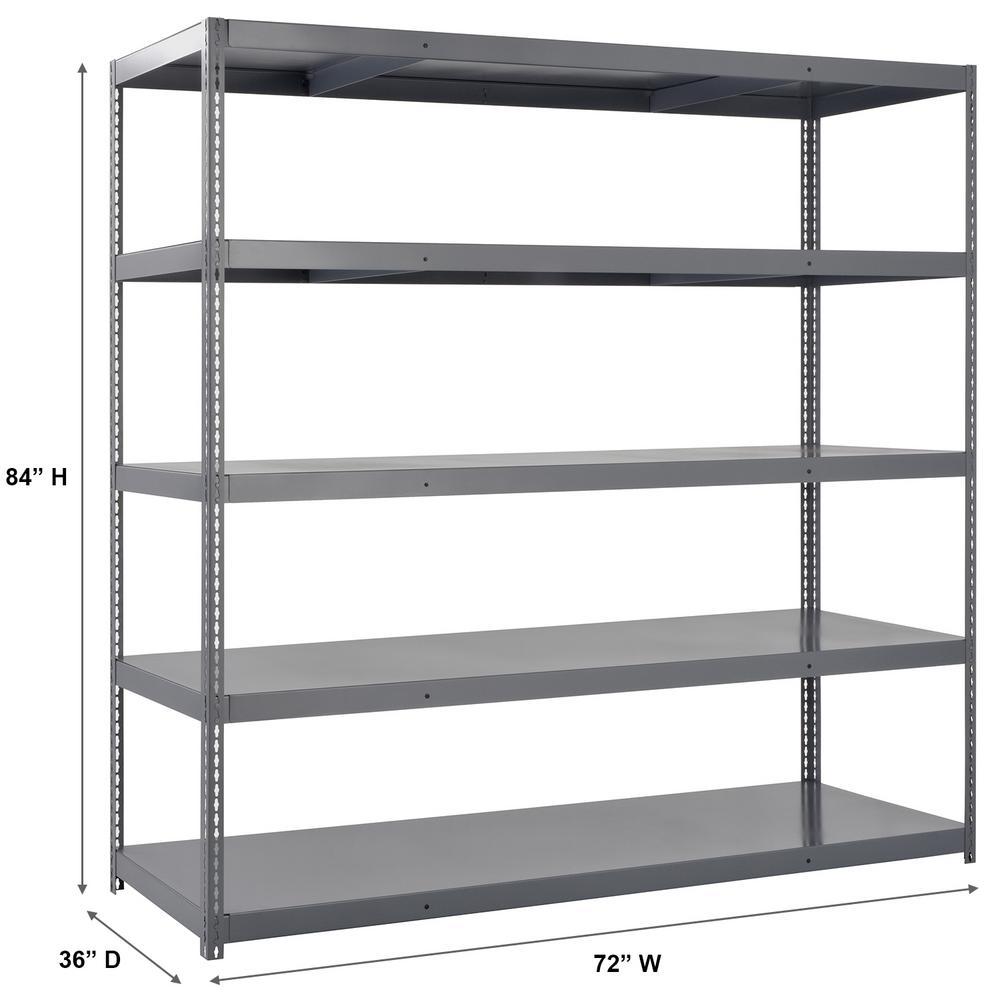 Edsal 84 In H X 72 In W X 36 In D 5 Shelf High Capacity Boltless Steel Shelving Unit In Gray Hcu 723684 The Home Depot