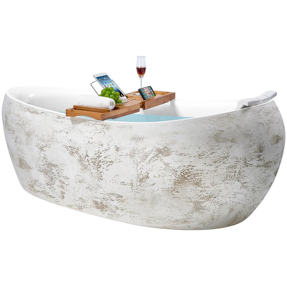 Freestanding 69 in. Acrylic Flatbottom Bathtub Modern Stand Alone Tub Luxurious SPA Tub in Rock Pattern