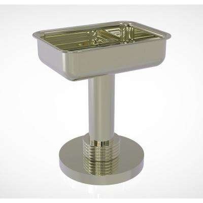 Vanity Top Soap Dish with Groovy Accents in Polished Nickel