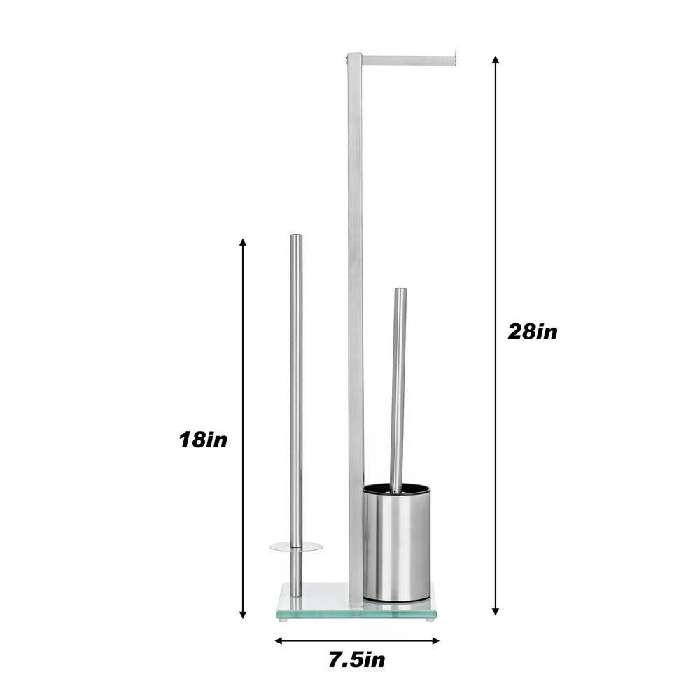 Toilet Roll Holder /& Toilet Brush Chrome Bathroom Accessory 81cm High