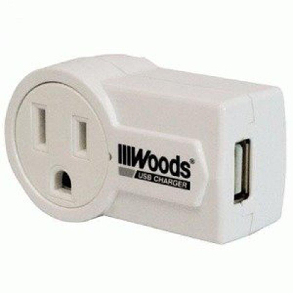 Woods Rotatable USB Charger - White
