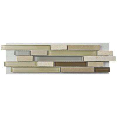 Tessera Piano York Glass and Stone Mosaic Tile - 3 in. x 4 in. Tile Sample