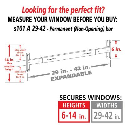 Fixed 29 in. to 42 in. Adjustable Width 1-Bar Window Guard, White