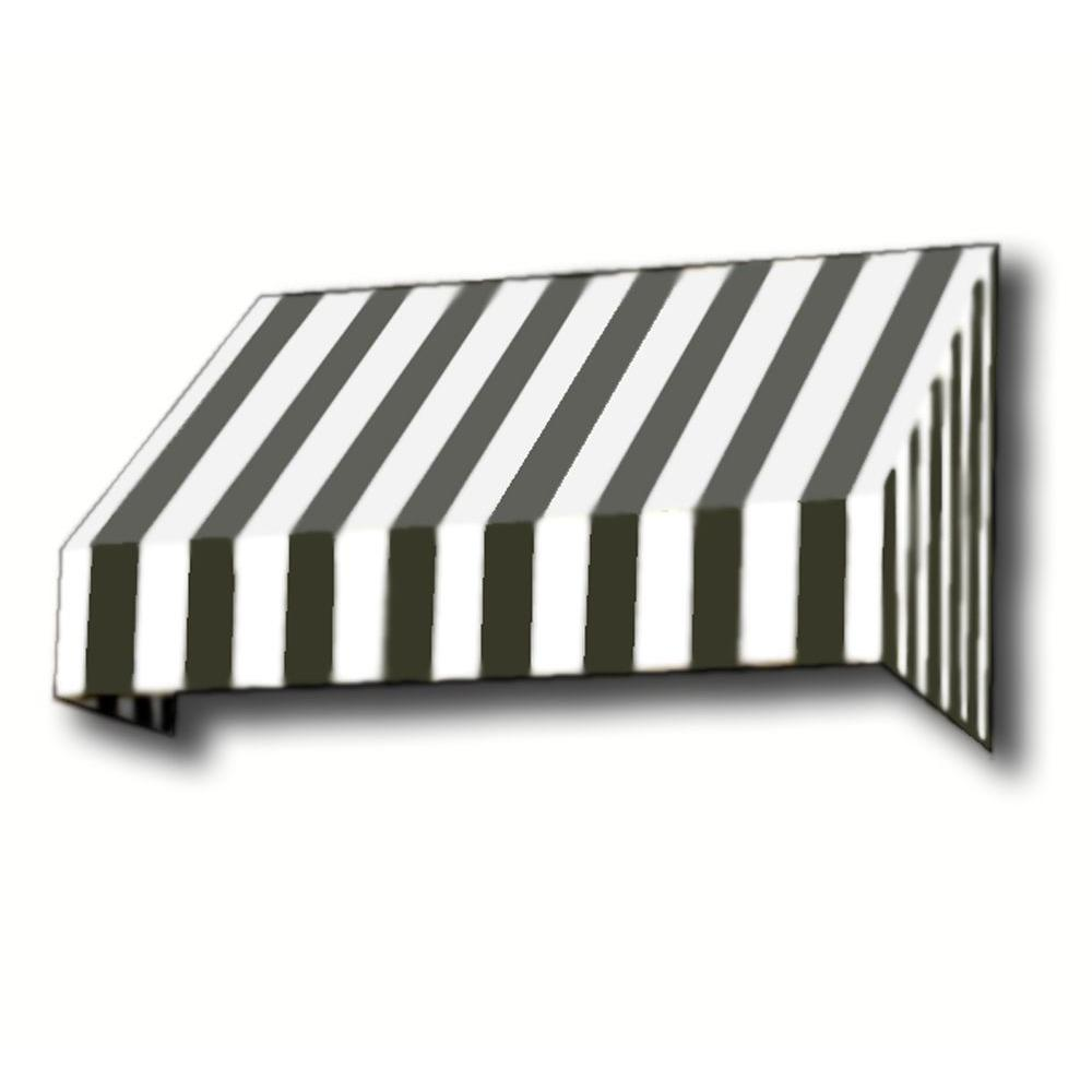 AWNTECH 40 ft. New Yorker Window/Entry Awning (44 in. H x 48 in. D) in Black / White Stripe