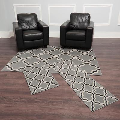 Ariana Silver 5 ft. x 7 ft. 3-Piece Rug Set