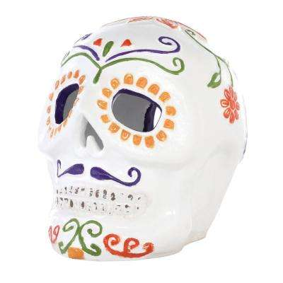14 in. Day of the Dead Terra Cotta Skull with Moustache Luminary