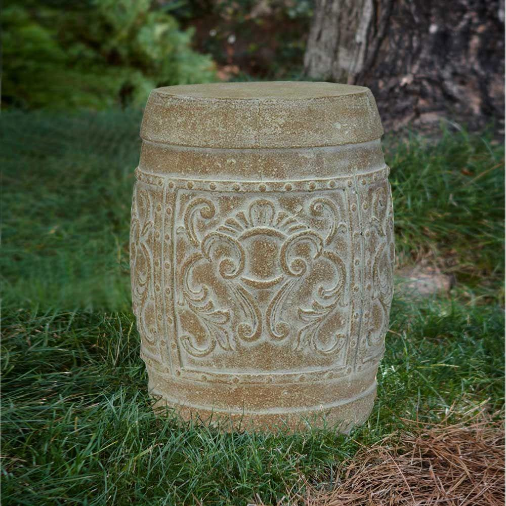 Sensational Mpg 19 1 2 In H Cast Stone Carved Garden Stool In White Wash Terracotta Pabps2019 Chair Design Images Pabps2019Com