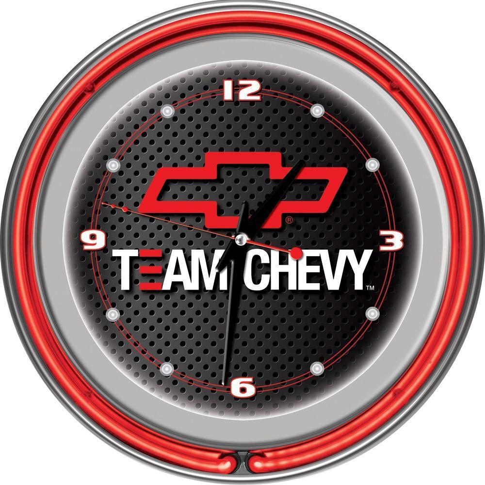 Trademark Global 14 in. Team Chevy Racing Neon Wall Clock