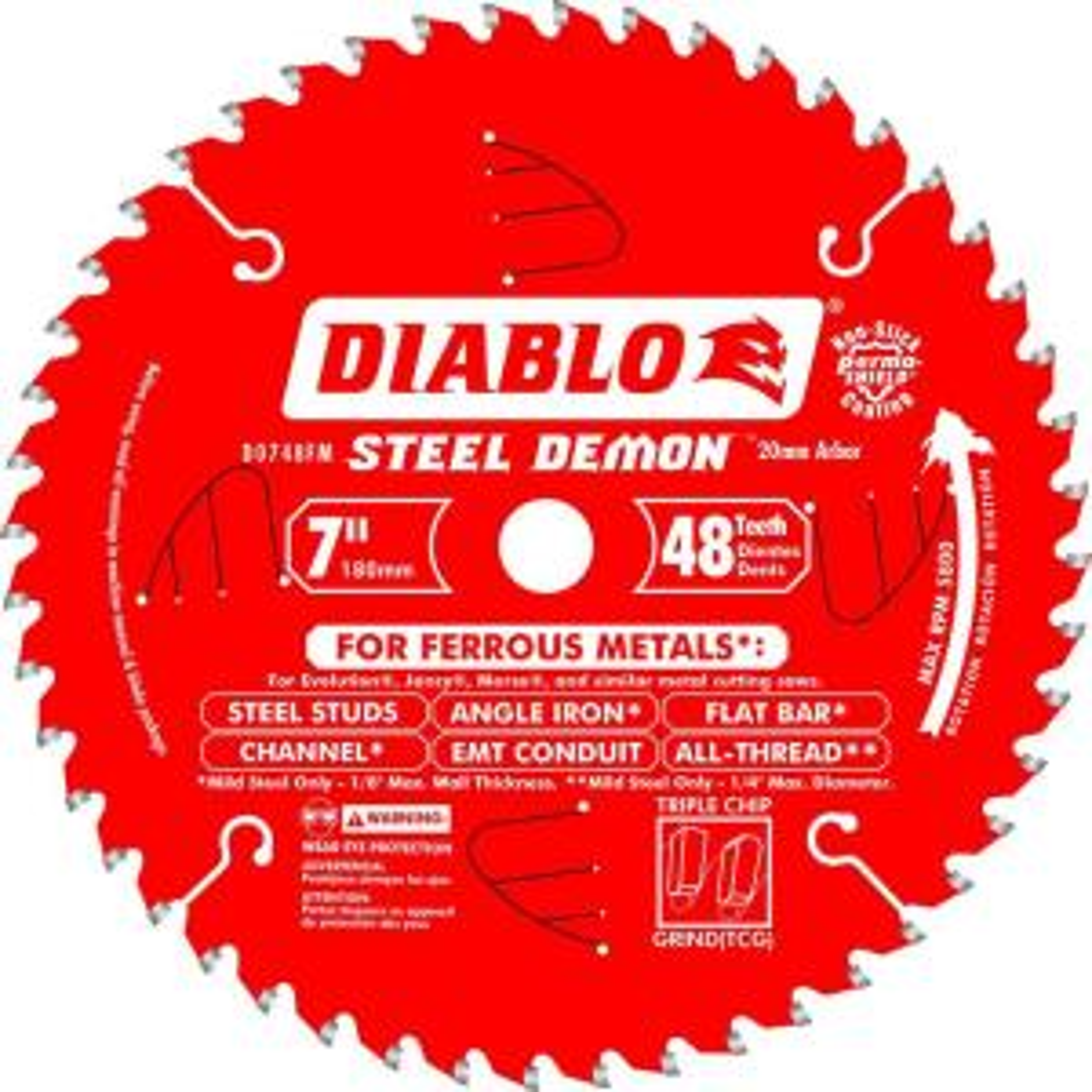 Diablo 7 inch x 48-Tooth x 20mm Arbor Steel Demon Ferrous Metal Cutting Saw Blade by Diablo